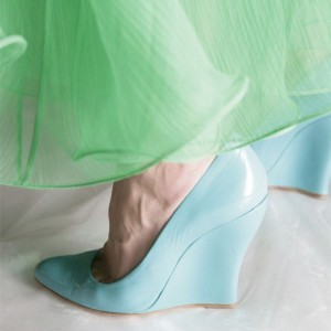 Women's Comfortable Shoes Cyan Wedge Heels Pointy Toe Heels