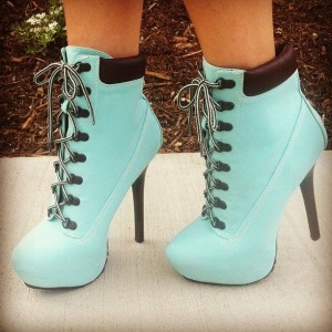 Cyan Lace up Boots Stiletto Heel Ankle Booties with Platform