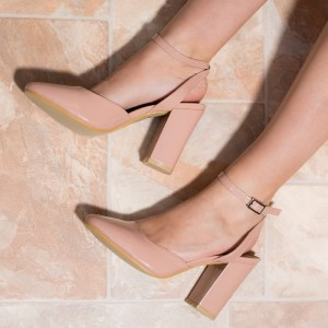 Blush Block Heel Sandals Chunky Heels Pointy Toe Slingback Pumps
