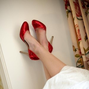 Red Sequined 5 Inches Stiletto Heels Round Toe Pumps