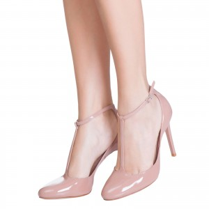 Women's  Pink Classic Glossy T Strap Heels Pointed Toe Pumps