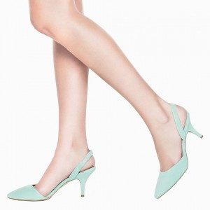 Cyan Comfortable Shoes Pointy Toe Stiletto Heel Slingback Pumps