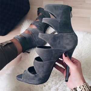 Grey Stiletto Heels Hollow out Sandals Peep Toe High Heel Shoes