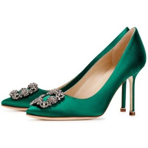 Green Prom Shoes Satin Stiletto Heel Pumps with Rhinestone Buckle
