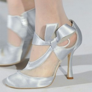 Women's Silver Low-cut Uppers Round Toe Strappy Mid-heel Wedding Shoes