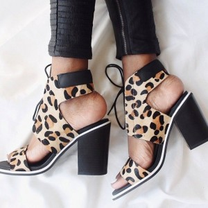 Leopard Print Summer Boots Suede Lace up Chunky Heel Ankle Boots