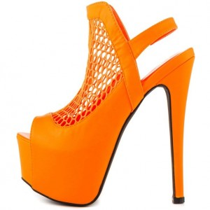 Orange Slingback Heels Mesh Platform Sandals for Women
