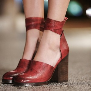 Women's Burgundy Ankle Strap Heels Vintage Strapy Chunky Heel Pumps