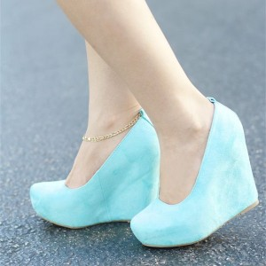 Women's Cyan Wedge Heels Almond Toe Pumps Comfortable Shoes