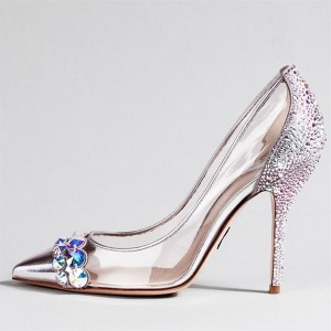 Rose Gold Heels Pointy Toe Rhinestone Hotfix Clear Pumps