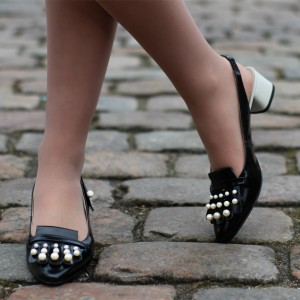 Black Patent Leather Block Heels Pearls Fringe Slingback Pumps