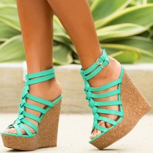 Turquoise Cork Wedges Open Toe Ankle Strap Platform Sandals
