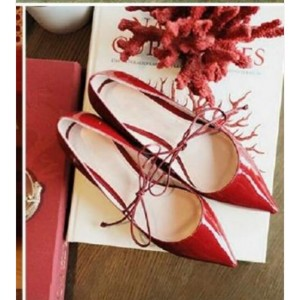 Custom Made Red Patent Leather Flats