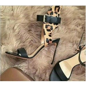 Custom Made Black and Leopard High Heel Sandals