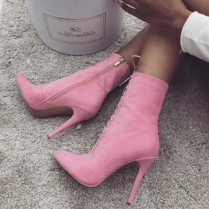 Pink Lace up Boots Stiletto Heel Suede Ankle Booties