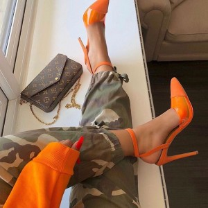 Orange Suede PVC Stiletto Heels Pointed Toe Slingback Pumps