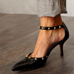 Black Patent Leather Rivet Ankle Strap Heels Pointy Toe Pumps