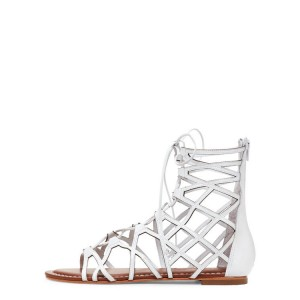 White Gladiator Sandals Hollow out Lace up Flats Size US 4-15