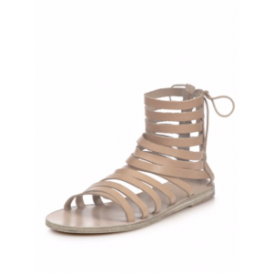 Women's Light Brown Hollow-out Flat Gladiator Sandals