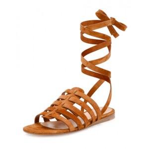 Tan Gladiator Sandals Comfortable Flats Strappy Sandals