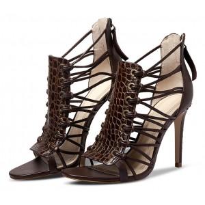 Dark Brown Strappy Sandals Open Toe Alligator Print Stiletto Heels