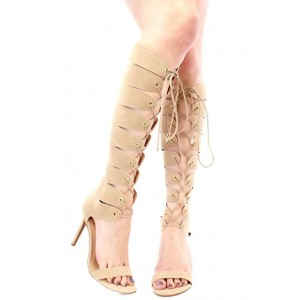 Women's Apricot Color Lace-up Stiletto Heel  Knee-high Gladiator Sandals