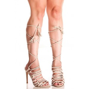 Women's Beige Strappy Heels Stiletto Heel Sandals Gladiator Heels
