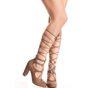 Women's Light Brown Strappy Heels Chunky Heel Pumps Gladiator Heels