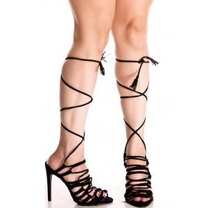 Women's Black Strappy Stiletto Heel Gladiator Sandals