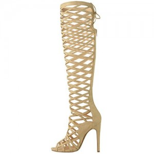 Yellow Gladiator Sandals Suede Hollow out Knee-High Stiletto Heels