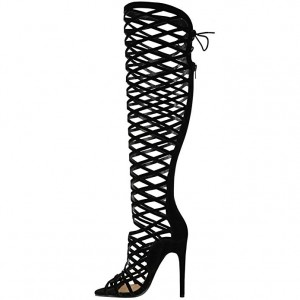 Women's Black Hollow-out Knee-high Stiletto Heel Gladiator Sandals