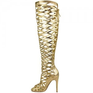 Golden Open Toe Hollow-out Strappy Stiletto Gladiator Heels Sandals