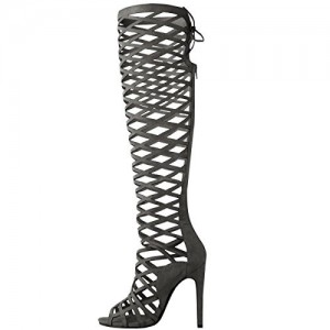 Women's Dark Grey Hollow-out Knee-high Stiletto Heel Gladiator Sandals