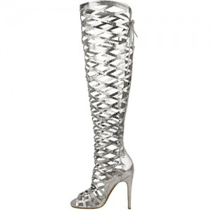 Women's Silver Stiletto Heels Hollow Out Knee-high Gladiator Strappy Sandals