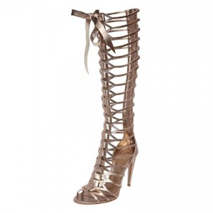 Women's Champagne Knee-high Stiletto Heel Sandals Gladiator Heels