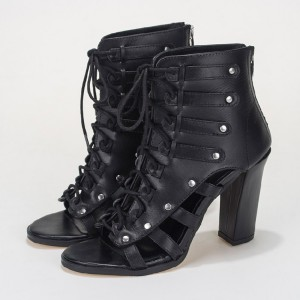 Black Summer Boots Open Toe Lace up Chunky Heels