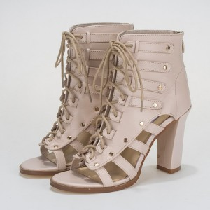 Beige Summer Boots Open Toe Lace up Chunky Heels