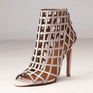 Women's Beige Caged Sandals Hollow-out Stiletto Heels for Cocktail Party