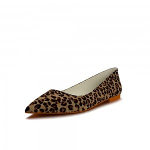 Women's Brown Suede Pointed Toe Leopard-print Flats