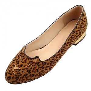 Women's Brown Suede Leopard Print Flats Round Toe Comfortable Shoes