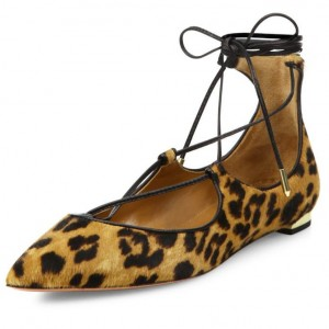 Women's Suede Strappy Shoes Ankle Strap Heels Leopard Print Flats