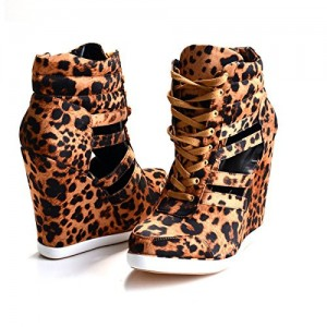 Leopard Print Shoes Lace up Platform Closed Toe Wedges