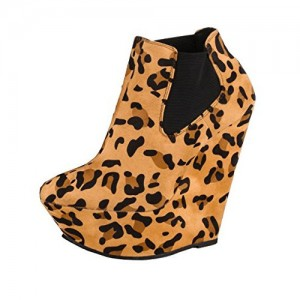 Khaki Leopard-print Slip-on Wedge Heel Ankle Boots