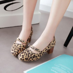 Leopard Pumps Round Toe Block Heel School Shoes