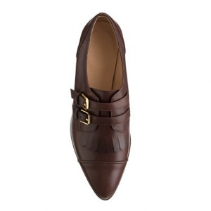 Brown Fringed Pointed Toe Buckle Vintage Shoes Women's Oxfords Brogues