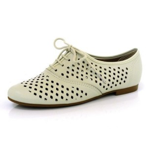 Women's Beige Hollow-out Lace-up Vintage Oxfords Comfortable Flats