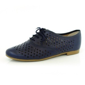 Navy Hollow-out Lace-up Vintage Women's Oxfords& Brogues