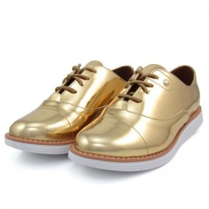 Golden Mirror Leather Vintage Lace-up Women's Oxfords Brogues