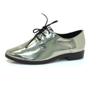 Bright Green Lace-up Women's Oxfords Patent Leather Vintage Shoes