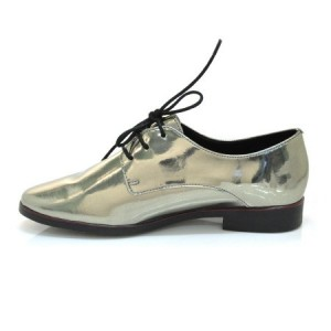 Golden Patent Leather Vintage Shoes Lace-up Women's Oxfords